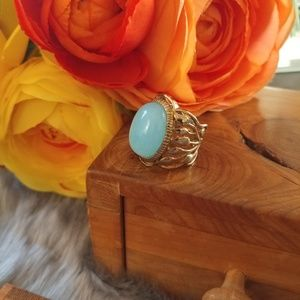 Jewelry - Gold plated sterling silver &  blue stone ring